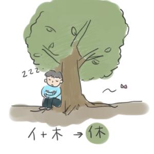 人が木に寄りかかって休む状態で「休」という感じが成り立っていることを表すイラスト