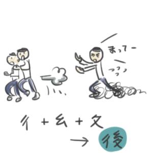 後という漢字の成り立ちを説明しているイラスト