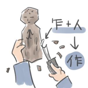 作という漢字の成り立ちを説明しているイラスト