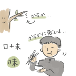 味という漢字の成り立ちを説明しているイラスト