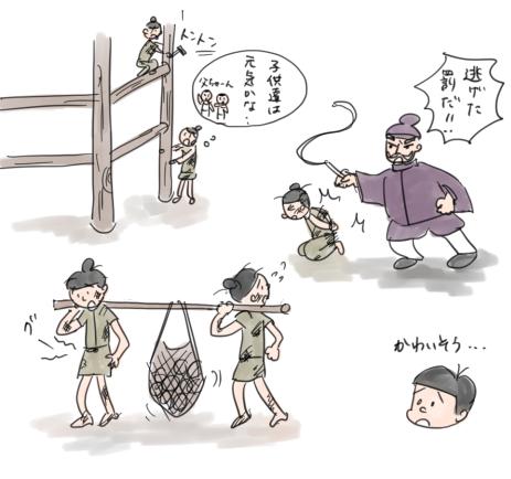 奈良時代の農民が、都作りで働かされている様子のイラスト