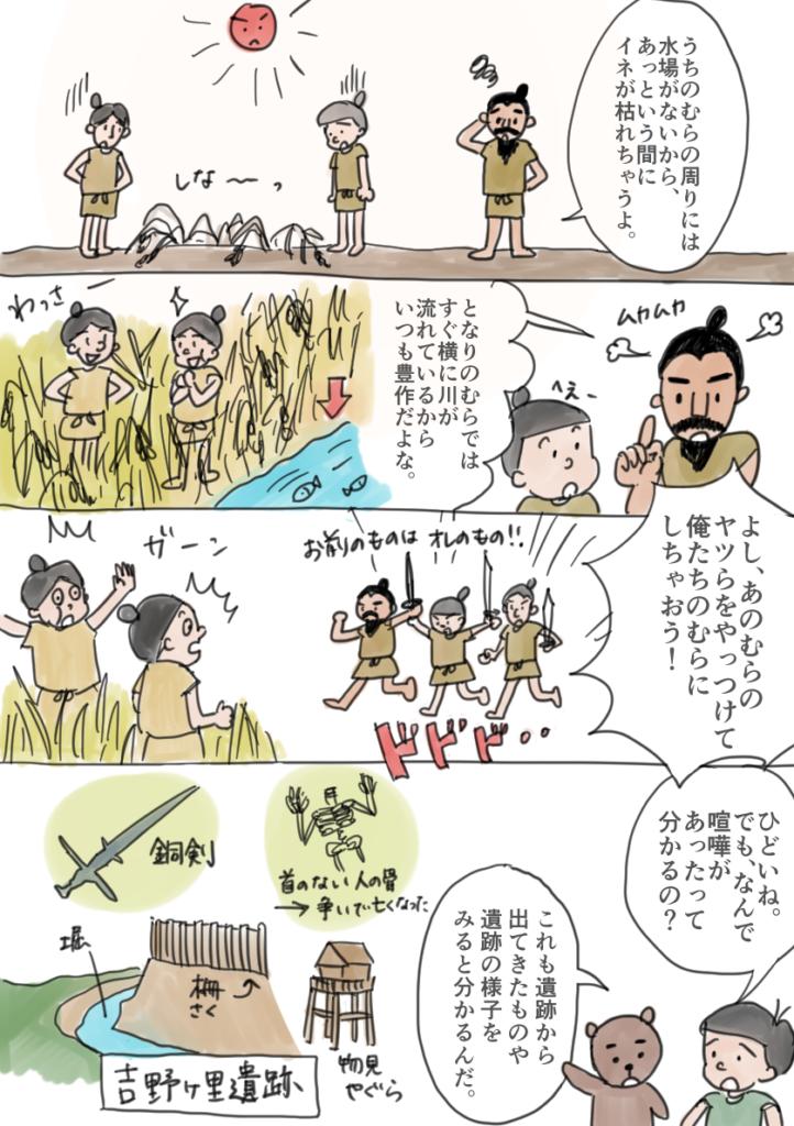 弥生時代に水や土地を争って戦いが生まれた様子を表す漫画