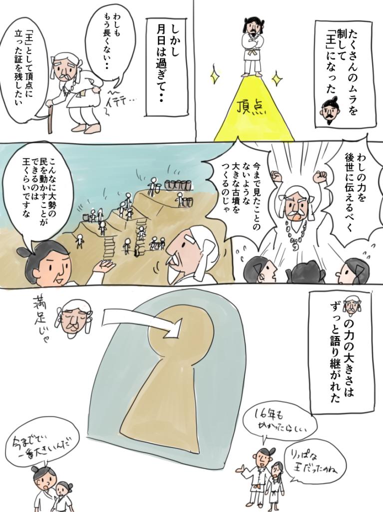 王になった豪族が自分の力を示すために古墳を作った様子を表す漫画