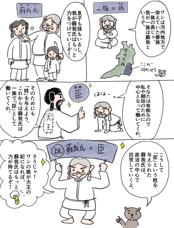 氏姓制度の内容を伝える漫画