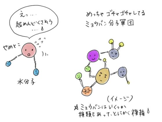ミョウバンの分子構造がとても複雑なので、水に溶けにくいことを表すイラスト
