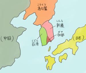 古代朝鮮半島の南部に、伽耶諸国があったことを表すイラスト