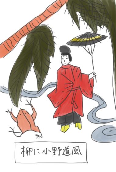 柳と小野道風のイラスト