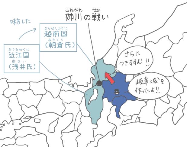 姉川の戦いの勢力図のイラスト
