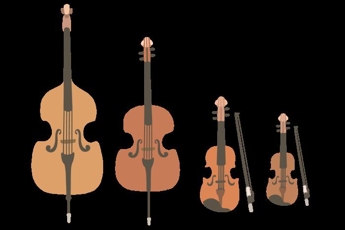 ヴァイオリン・ヴィオラ・チェロ・コントラバスのイラスト