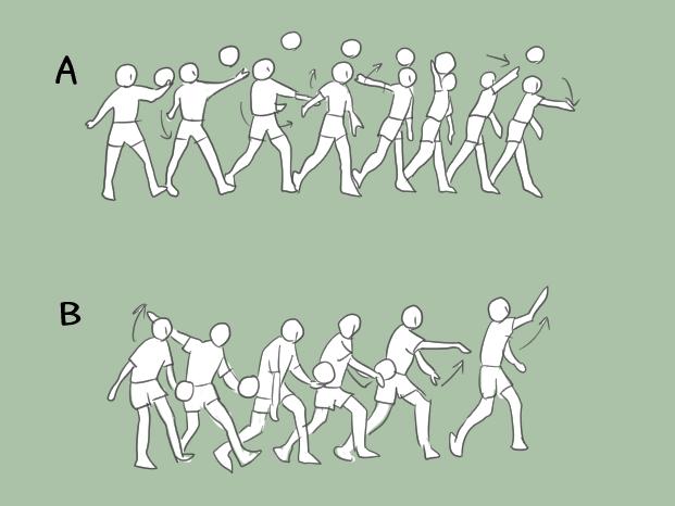 バレーボールのサービス法についてのテストのイラスト