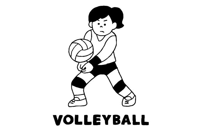 バレーボールをする女性