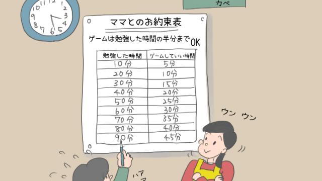 時間表を書いている男の子のイラスト