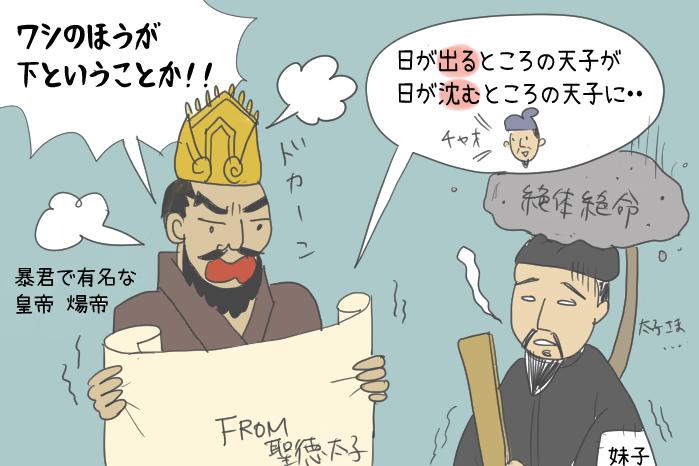 煬帝皇帝に聖徳太子の書を渡す小野妹子のイラスト
