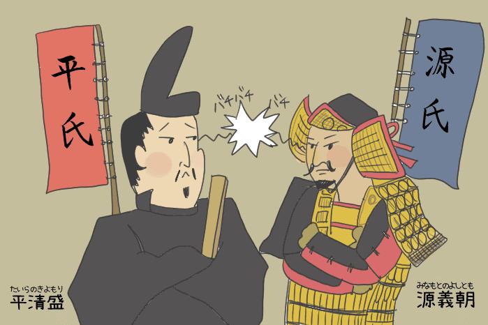 平氏と源氏が睨み合っているイラスト