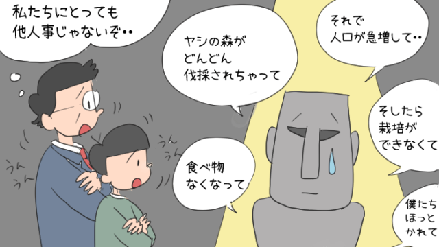 語っているモアイ像と、話を聞く安田喜憲さんと男の子のイラスト