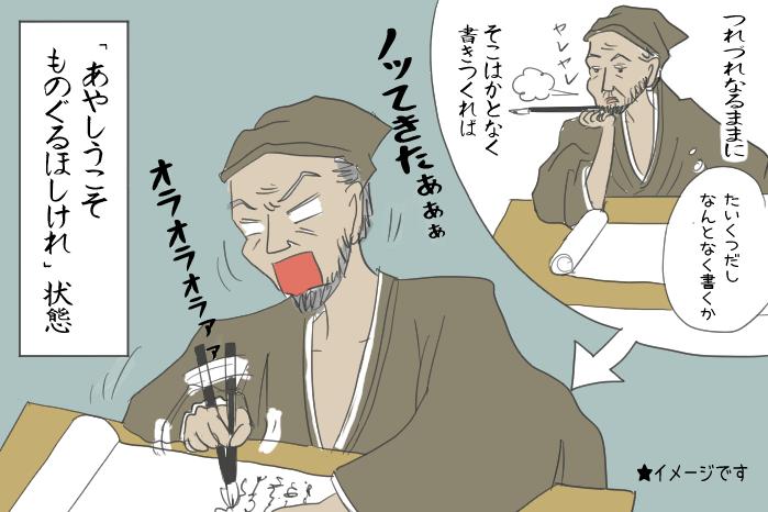 徒然草を書いている兼好法師のイラスト