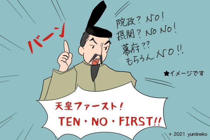 院政、摂関政治、幕府を認めず親政を行なった後醍醐天皇のイラスト